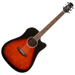 Ashton D20SCEQTSB Solid Top Dreadnought Acoustic Guitar with EQ
