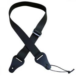 Ukulele Strap Black Leather Slide
