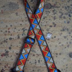 Ukulele Strap Red Yellow and Blue Jacquard