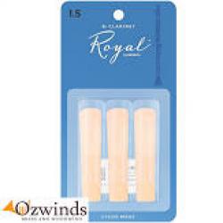 Rico Royal Bb Clarinet Reeds 3 pack 1.5