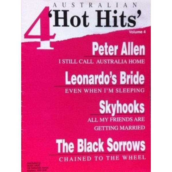 4 Australian Hot Hits Volume 4 Print Music Piano Vocals Guitar